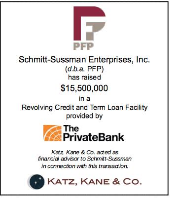 Katz, Kane & Co. advises Schmitt-Sussman Enterprises